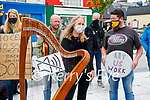 Reidun Schlesinger and John Connolly (Knocknagoshel) <br />  at the Kerry Musicians protest at the Square, Tralee on Wednesday.