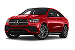 Stock pictures of low aggressive front three quarter view of 2021 Mercedes Benz GLE-Coupe 350-e-AMG-Line 5 Door SUV Low Aggressive