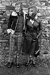 Fashionably dressed young teenage couple. Margaret and Barry Kirkbride.  Workington Cumbria, The Lake District, England 1975.<br />