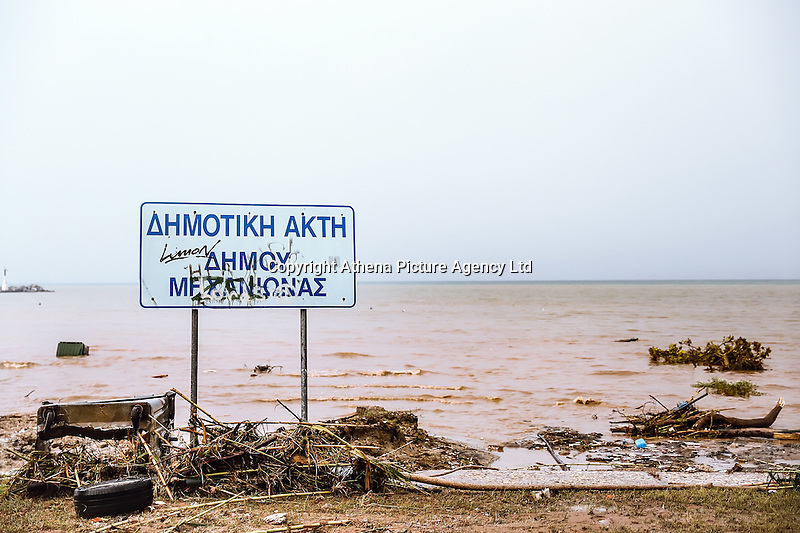 Debris and mud at the beach in Nea Mihaniona