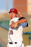 Vincent Velasquez #30 of the Lancaster JetHawks warms up in the bullpen before pitching against the Rancho Cucamonga Quakes at The Hanger on August 26, 2013 in Lancaster, California. Rancho Cucamonga defeated Lancaster, 4-1. (Larry Goren/Four Seam Images)