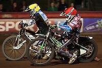 Lewis Bridger (red) and Richie Worrall (yellow) - Lakeside Hammers vs Kings Lynn Stars, Elite League Speedway at the Arena Essex Raceway, Pufleet - 23/04/13 - MANDATORY CREDIT: Rob Newell/TGSPHOTO - Self billing applies where appropriate - 0845 094 6026 - contact@tgsphoto.co.uk - NO UNPAID USE.