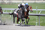 Taqarub with Alan Garcia (blue/white cap) duels with Despite the Odds with Jeremy Rose (white cap) down the backstretch. Taqarub went on to win the allowance race at Keeneland. 04.02.2010