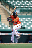 Baltimore Orioles Jacob Brown (53) at bat during an Instructional League game against the Atlanta Braves on September 25, 2017 at Ed Smith Stadium in Sarasota, Florida.  (Mike Janes/Four Seam Images)