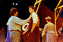 Trevor Nunn directing Oklahoma. A musical. Music by Richard Rodgers, book and lyrics by Oscar Hammersmith II, Choreography by Susan Stroman, directed by Trevor Nunn.  With Hugh Jackman as Curly. Opened at The Olivier Theatre at The National Theatre 15/7/98. CREDIT Geraint Lewis