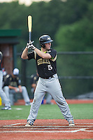 Ryan Whitt (5) of the Gastonia Grizzlies at bat against the Asheboro Copperheads at McCrary Park on June 1, 2015 in Asheboro, North Carolina.  The Copperheads defeated the Grizzlies 11-6. (Brian Westerholt/Four Seam Images)