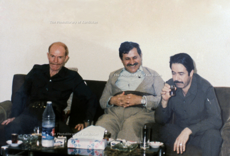 Iraq 1984.Meeting of the Kurds with the Iraqi officials: From right to left : Ali Hassan al Majid , Jalal Talabani and Izzat Douri in Surdach near Dokan.Irak 1984.Rencontre des Kurdes avec des officiels irakiens: A droite, Ali Hassan al Majid, Jelal Talabani and Izzat Douri