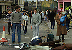 Brixton Riots. South London Uk April 1981. The day after local people look at damage caused to their neighbourhood.