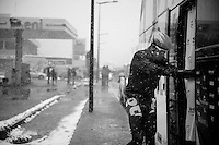 Milan - San Remo 2013: the iced edition.<br /> Jürgen Roelandts (BEL) is struggling simply getting on the teambus