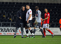 ATTENTION SPORTS PICTURE DESK<br /> Pictured: Paulo Sousa (L) manager for Swansea talks to Shefki Kuqi at the end of the game<br /> Re: Coca Cola Championship, Swansea City Football Club v West Bromwich Albion at the Liberty Stadium, Swansea, south Wales. Tuesday 16 March 2010