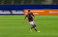CARSON, CA - SEPTEMBER 19: Younes Namli #21 of the Colorado Rapids clears a ball during a game between Colorado Rapids and Los Angeles Galaxy at Dignity Heath Sports Park on September 19, 2020 in Carson, California.
