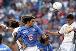Mexico (18.02.2006) Cruz Azul forward Francisco Kikin Fonseca heads the ball against UNAM Pumas defender Hector Moreno (R) during their soccer match at the Blue Stadium in Mexico City, February 18, 2006. Cruz Azul won 3-1 to UNAM. © Photo by Javier Rodriguez