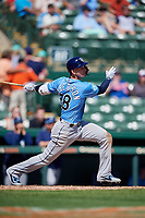 Tampa Bay Rays shortstop Daniel Robertson (28) follows through on a swing during a Grapefruit League Spring Training game against the Baltimore Orioles on March 1, 2019 at Ed Smith Stadium in Sarasota, Florida.  Rays defeated the Orioles 10-5.  (Mike Janes/Four Seam Images)