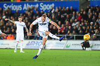 Mike van der Hoorn of Swansea City in action during the Sky Bet Championship match between Swansea City and West Bromwich Albion at the Liberty Stadium in Swansea, Wales, UK. Wednesday 28 November 2018