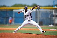 GCL Rays relief pitcher Jhoanbert Cedeno (20) delivers a pitch during a game against the GCL Twins on August 9, 2018 at Charlotte Sports Park in Port Charlotte, Florida.  GCL Twins defeated GCL Rays 5-2.  (Mike Janes/Four Seam Images)