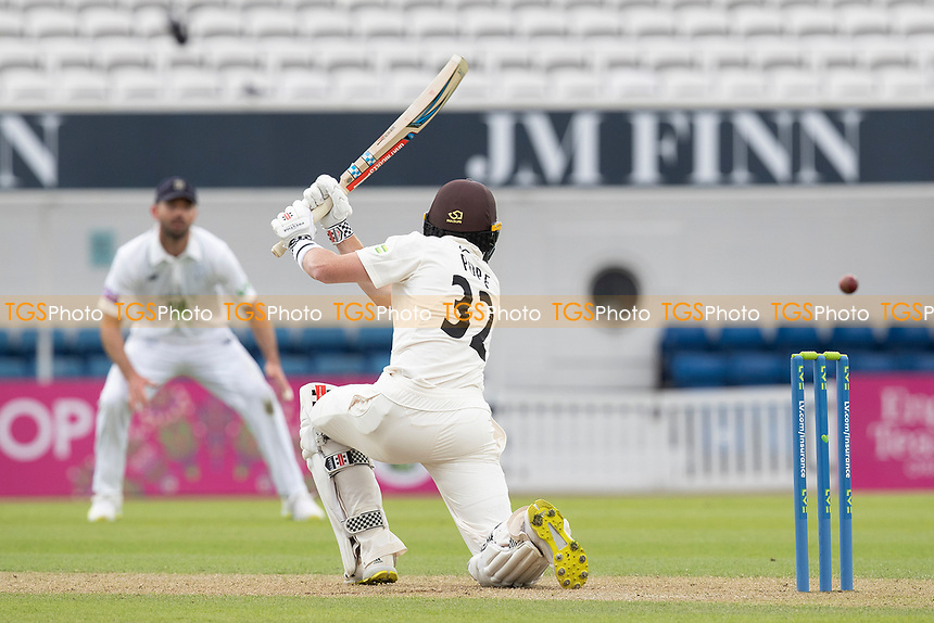 Ollie Pope of Surrey drives through the covers to bring up his century during Surrey CCC vs Hampshire CCC, LV Insurance County Championship Group 2 Cricket at the Kia Oval on 30th April 2021