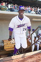Jared Mitchell #24 of the Winston-Salem Dash takes the field at the start of the game against the Wilmington Blue Rocks at BB&T Ballpark on April 23, 2011 in Winston-Salem, North Carolina.   Photo by Brian Westerholt / Four Seam Images