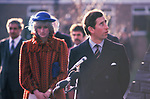 Prince Charles and Diana Princess of Wales their first tour of Wales together in 1982. She is sad unhappy depressed looking down 80s UK<br /> Their first tour of Wales together in after their marriage.
