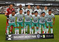 KANSAS CITY, KS - AUGUST 10: Starting XI Club Leon FC during a game between Club Leon FC and Sporting KC at Children's Mercy Park on August 10, 2021 in Kansas City, Kansas.
