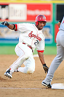 July 21st 2008:  Jared Bolden of the Spokane Indians, Short Season Class-A affiliate of the Texas Rangers, during a game at Home of the Avista Stadium in Spokane, WA.  Photo by:  Matthew Sauk/Four Seam Images