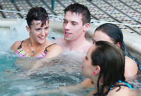 Kara and and friends in the jacuzzi during a hotel party on Kara's birtday.