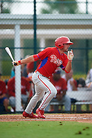 GCL Phillies left fielder Josh Stephen (2) at bat during a game against the GCL Pirates on August 6, 2016 at Pirate City in Bradenton, Florida.  GCL Phillies defeated the GCL Pirates 4-1.  (Mike Janes/Four Seam Images)