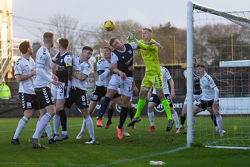 21st November 2020; Somerset Park, Ayr, South Ayrshire, Scotland; Scottish Championship Football, Ayr United versus Dundee FC; Ayr United goalkeeper Viljami Sinisalo punches clear off the head of Lee Ashcroft of Dundee