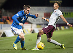 St Johnstone v Hearts…30.10.19   McDiarmid Park   SPFL<br />Anthony Ralston goes past Sean Clare<br />Picture by Graeme Hart.<br />Copyright Perthshire Picture Agency<br />Tel: 01738 623350  Mobile: 07990 594431