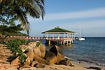 Seychelles, Island Praslin, Anse Bateau: Hotel Coco de Mer - beach, jetty