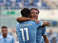 Football, Serie A: S.S. Lazio - Brescia, Olympic stadium, Rome, July 29, 2020. <br /> Lazio's Carlos Joaquin Correa (l) celebrates after scoring with his teammate Ciro Immobile (r)  during the Italian Serie A football match between S.S. Lazio and Brescia at Rome's Olympic stadium, Rome, on July 29, 2020. <br /> UPDATE IMAGES PRESS/Isabella Bonotto