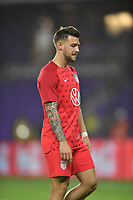 ORLANDO, FL - NOVEMBER 15: Aaron Long #3 of the United States warming up during a game between Canada and USMNT at Exploria Stadium on November 15, 2019 in Orlando, Florida.
