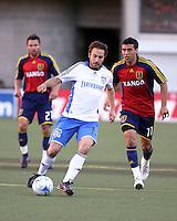 Dema Kovalenko, Ned Grabavoy and Javier Morales in the 0-0 draw at Rice Eccles Stadium in Salt Lake City, Utah on June 18, 2008.