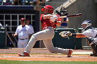 Springfield Cardinals Harrison Bader (33) swings during the game against the Northwest Arkansas Naturals at Arvest Ballpark on May 4, 2016 in Springdale, Arkansas.  Springfield won 10-6.  (Dennis Hubbard/Four Seam Images)