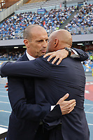 Massimiliano Allegri coach of Juventus FC and Luciano Spalletti coach of SSC Napoli greet each other during the Serie A 2021/2022 football match between SSC Napoli and Juventus FC at Diego Armando Maradona stadium in Napoli (Italy), September 11th, 2021. <br /> Photo Cesare Purini / Insidefoto