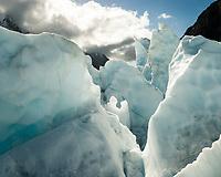 Icy landscape with ice seracs on Franz Josef Glacier, Westland Tai Poutini National Park, West Coast, UNESCO World Heritage Area, New Zealand, NZ