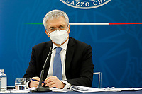 The Minister of Economy Daniele Franco during the press conference at the end of the Minister's cabinet.<br /> Rome (Italy), March 19th 2021<br /> Photo Samantha Zucchi Insidefoto