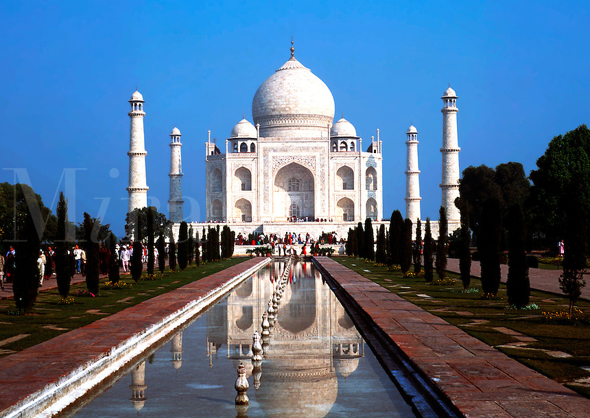 The Taj Mahal reflected in the reflecting pool. Agra, India.