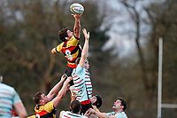 Jake Parker of Richmond Rugby and Tom Baldwin of Blackheath Rugby compete for the line-out during the English National League match between Richmond and Blackheath  at Richmond Athletic Ground, Richmond, United Kingdom on 4 January 2020. Photo by Carlton Myrie.