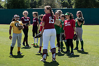 STANFORD, CA -- April 15, 2018. <br /> Arden Pettit at softball clinic after the Stanford Cardinal women's softball team loss to the Oregon State Beavers at the Smith Family Stadium 12-1.