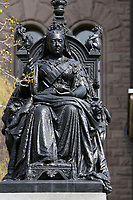 Toronto (ON) CANADA - April 24 2008 File Photo<br /> Statue of the Queen Victoria in front of the Legislative Assembly of Ontario in<br />  Queens Park ( in the Downtown area of Toronto)<br /> <br /> <br />  Opened in 1860 by Edward, Prince of Wales, it was named in honour of Queen Victoria. The park is the site of the Ontario Legislature, which houses the Legislative Assembly of Ontario, and so the phrase Queen's Park is also frequently used to refer to the Government of Ontario.