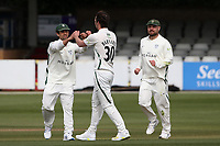 Ed Barnard of Worcestershire celebrates with his team mates after taking the wicket of Nick Browne during Essex CCC vs Worcestershire CCC, LV Insurance County Championship Group 1 Cricket at The Cloudfm County Ground on 8th April 2021