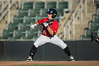 Bradley Strong (18) of the Kannapolis Intimidators squares to bunt against the Greensboro Grasshoppers at Intimidators Stadium on July 17, 2016 in Greensboro, North Carolina.  The Grasshoppers defeated the Intimidators 5-4 in game two of a double-header.  (Brian Westerholt/Four Seam Images)