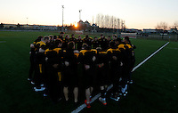 Photo: Richard Lane/Richard Lane Photography. Wasps team run at Stadio Sergio Lanfranchi ahead of their European Champions Cup game against Zebre at Parma. 21/01/2017. Wasps huddle as the sun goes down.