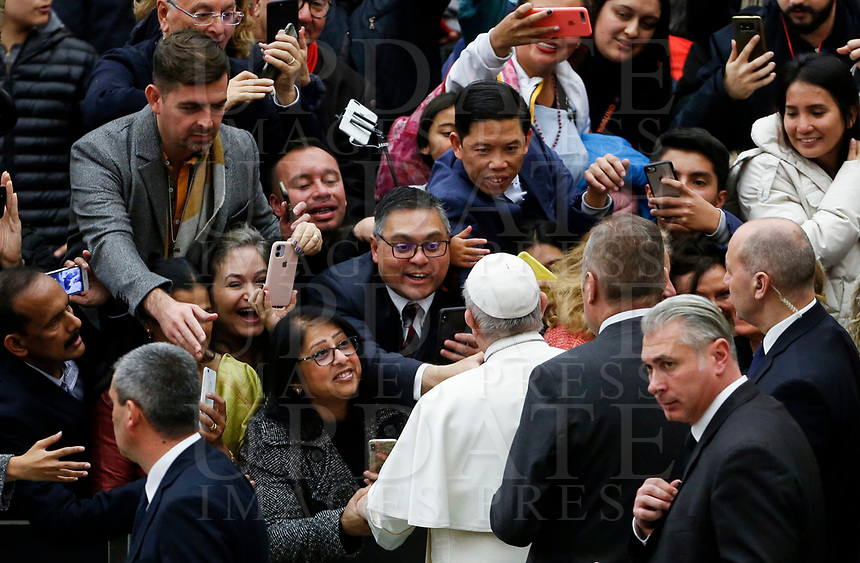 Pope Francis greets the faithful at the end of his weekly general audience in the Paul VI hall at the Vatican, January 22, 2020.<br /> <br /> UPDATE IMAGES PRESS/Riccardo De Luca<br /> <br /> STRICTLY ONLY FOR EDITORIAL USE