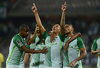 MEDELLIN -COLOMBIA, 20-8-2017. Jeison Lucumí jugador de Atlético Nacional celebra su gol contra Alianza Petrolera durante partido por la fecha 9 de la Liga Aguila II 2017 jugado en el estadio Atanasio Girardot de la ciudad de Medellín. / Jeison Lucumi player os Atletico Nacional celebrates his goal agaisnt of Alianza Petrolera  during match for the date 9 of the Aguila League II 2017 played at Atanasio Girardot stadium in Medellin city . Photo:VizzoImage /León Monsalve  / Stringer