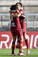 Andressa Alves Da Silva of AS Roma celebrates with Manuela Giugliano after scoring the goal of 1-0 during the Women Italy cup round of 8 second leg match between AS Roma and Florentia S.G. at stadio delle tre fontane, Roma, February 14, 2021. Photo Andrea Staccioli / Insidefoto
