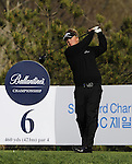 JEJU, SOUTH KOREA - APRIL 23:  Ross McGowan of England tees off on the 6th hole during the Round Two of the Ballantine's Championship at Pinx Golf Club on April 23, 2010 in Jeju island, South Korea. Photo by Victor Fraile / The Power of Sport Images