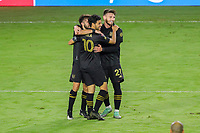 22nd December 2020, Orlando, Florida, USA;  LAFC players celebrate after scoring their goal during the Concacaf Championship between LAFC and Tigres UANL on December 22, 2020, at Exploria Stadium in Orlando, FL.