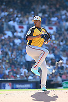 Joe Jimenez of the World Team pitches against the USA Team during The Futures Game at Petco Park on July 10, 2016 in San Diego, California. World Team defeated USA Team, 11-3. (Larry Goren/Four Seam Images)