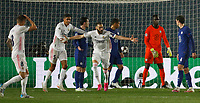 April 27th 2021; Alfredo Di Stefano Stadium, Madrid, Spain; UEFA Champions League.  Karim Benzema Madrid turns and celebrates his equalising goal during the Champions League match, semifinals between Real Madrid and Chelsea FC played at Alfredo Di Stefano Stadium